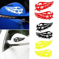 ☼Mooncake☼2Pcs Fashion Feather PET Self-Adhesive Rearview Mirror Car Sticker Decor Decals
