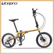 """Litepro 16"""" Foldable Bicycle 9-speed Folding Bicycle Adult Foldable Bike with Variable Speed Road bike"""