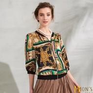 【MON'S】皇室奢華緞面絲質造型外套