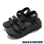 Skechers 涼鞋 Max Cushioning-Lured 女鞋 加厚中底 避震 緩衝 魔鬼氈 回彈 黑 140218BBK 140218-BBK