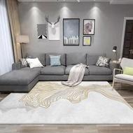快速出貨 沙發墊跨境代發時尚新中式素雅灰白金黃色線條客廳臥室廚房床邊地毯地墊