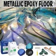 Metallic Epoxy Floor Countertop Clear Epoxy Resin Floor Coating Metallic Powder Pigment Mica Powder Tools Set