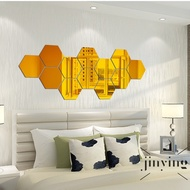 S Wind 14Pcs Hexagon Acrylic Mirrored Decorative Wall Sticker DIY Art Wall Deco