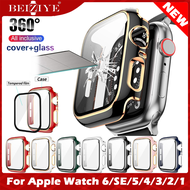 Case+Tempered Glass กระจกกันรอย For Apple Watch 6 กรณี 44mm 40mm กระจกนิรภัย Screen Protector coverage Bumper case for apple watch series 6 5 4 3 2 1 SE 38mm 42mm cover glass film acceccories