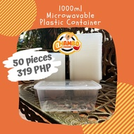 50pcs 1000ml Rectangular Microwavable Plastic Food Container Tub (7x5x2.5 inches)