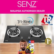 Senz Twin Burner Gas Stove Tri Rings With Fast Ignition 4 Fire Mode - Black (6.4Kw) SZ-GS388