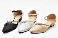 รองเท้าคัชชูรัดส้น รองเท้าออกงาน ตกแต่งคริสตัล ส้นสูง 1 นิ้ว (สีเงิน / บรอนซ์ / ดำ) ไซส์ 35-40