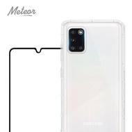 【Meteor】SAMSUNG Galaxy A31 手機保護超值3件組(透明空壓殼+鋼化膜+鏡頭貼)