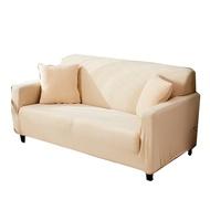 [送枕套壓條] 部分防水設計沙發罩 米色加厚針織沙發罩防貓抓 沙發通用全包彈力沙發套 單人雙人三人四人座尺寸