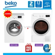 Beko 7kg Front Load Washer WTE7512XS0 + Beko Heat Pump Dryer package DPS7405XW3/ DHX83420W / DS8433RX1M + Free Gift