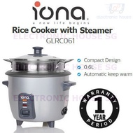 ★ Iona GLRC061 0.6L Rice Cooker with Steamer ★ (1 Year Singapore Warranty)