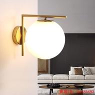 💡現代簡約LED壁燈北歐臥室床頭墻燈玻璃燈罩不銹鋼圓形壁燈