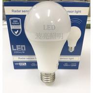 【台灣波亮照明】雷達感應燈泡 12W E27 LED微波雷達感應燈泡  防盜燈泡 感應燈