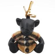 BURBERRY Thomas Vintage格紋披肩造型喀什米爾泰迪熊鑰匙圈/吊飾(黑)
