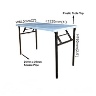 3V Heavy Duty Foldable Banquet Table with Plastic Top 2x4ft/2x5ft/2x6ft (Black)