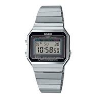 CASIO 卡西歐 復古文青風 LED照明 電子 鋼帶錶 (銀) 超薄錶殼 A700W-1A