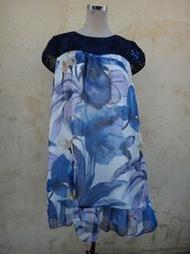 楹 ~ 正品 LaiCarFore 萊卡佛 Anita Su 美麗印花 雪紡洋裝 Size: XL