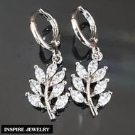 Inspire Jewelry ต่างหูเพชรสวิสCZ ใบช่อมะกอก งานจิวเวลลี่ ตัวเรือนหุ้มทองคำขาว พร้อมถุงกำมะหยี่