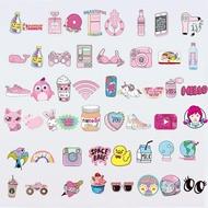 50張少女行李箱貼紙粉色可愛筆電電腦滑板吉他貼畫防水