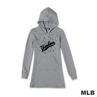 MLB-LOGO 洋基經典流行印花長版連帽T恤-灰色(女)