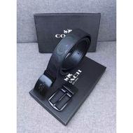 COACH 55157 浮雕圖案 黑色 黑針板皮帶 附購證