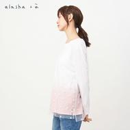 a la sha+a植絨小方格網紗漸層長袖上衣
