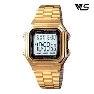 Casio นาฬิกาผู้หญิง สีทอง สายสแตนเลส รุ่น A178WGA-1ADF