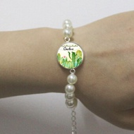 Charm Cactus Art Patterns Glass Cabochon Dome Bangle Green Cactus Bracelets Cactus Women Jewelry Handmade Ca07
