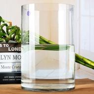 Vas lantai bulat yang sangat besar kaca lily transparan pasu buluh kaya hiasan hidroponik ruang tamu hiasan bunga