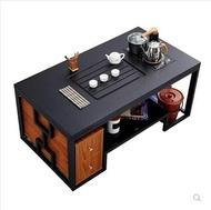 火燒石功夫茶幾現代創意客廳黑色泡茶台桌大理石帶電磁爐自動上水1.3米MKS 瑪麗蘇精品鞋包