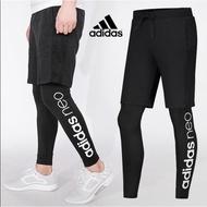 『伊美』Adidas 愛迪達 男運動褲 新款假兩件彈力緊身褲跑步訓練運動褲 長褲 運動長褲 假兩件運動褲BR8472