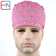 Scrub Caps Doctor Nurse Surgical Print Dome Scrub Caps For Hospital Tie Back With Elastic Bands Medical Cap Mask