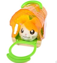 Childrens house toy Hamtaro plush hamster doll with plastic cage