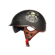 TORC 哈雷帽 半罩 瓜皮帽 安全帽 雙鏡片 安全帽 LUCKLY13 消光黑 YSDL