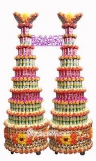 【歐式綠坊花苑】 【gss062】九層全茶品飲料罐頭塔/罐頭山/罐頭柱(1對)~桃園市告別式公祭家祭喪禮祭品專業製作配送