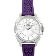 COACH C LOGO立體浮雕橡膠錶帶女士腕錶-葡萄紫色