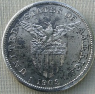 Genuine Philippines old silver coins 1 Peso 1909 S