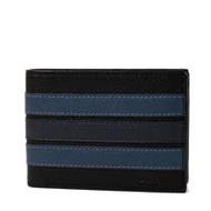 COACH 男款 藍色直紋荔枝紋皮革六卡短夾-黑色