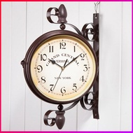 【Love Shop】實木復古歐式雙面掛鐘 /時鐘/靜音//田園/鄉村/掛鐘/ 歐式 紐約鐘