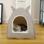 Eco-friendly Cat Bed Lounge Sleeping Bag with Removable Mattress Warm Soft Foldable Pet House Tent C