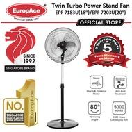 *New Launch* EuropAce 18/20 Inches 4s Motor Twin Turbo Power Stand Fan - 5 Years Motor Warranty