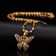 Rantai Emas [โปรโมชั่น!!]Rantai Emas & Rantai Silverราคาไม่แพงคุณภาพสร้อยคอผีเสื้อคู่ทองและจี้เงิน