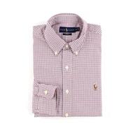 美國百分百【Ralph Lauren】長袖 襯衫 RL 男 POLO 彩馬 格紋 上衣 白色 藍色 紅色 S號 F722