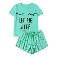 Letter Printed Pajama Set Women's Short Sleeve Print T Shirt Sleepwear Nightwear Set Pizama Damska Sleepwear Pajamas For Women