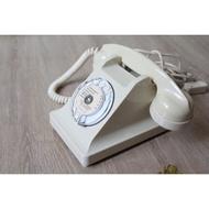 法國 U43 轉盤式電話 撥盤電話 象牙白 古董