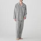 [MUJI無印良品]男有機棉無側縫法蘭絨家居睡衣L墨灰格紋