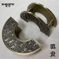 ♣✥中式仿古大門拉手玻璃門拉手半圓形雕刻祥云木門框門古銅把手黑色