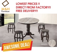 Vintage Dining Table / 1+4 Stools / Round Marble Table
