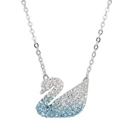 SWAROVSKI 施華洛世奇 璀璨漸層水晶天鵝造型銀色項鍊