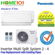 Panasonic XS Series Multi Split Aircon - Available in 5 Ticks with FREE Replacement [SYSTEM. 2 - 4]